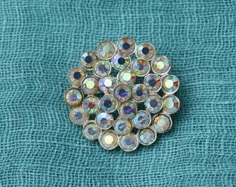 Clearance (15% off) - Vintage 1950s AB Diamanté Circular Brooch