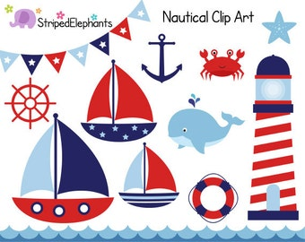 Nautical Clip Art - Sail Boat Clipart - Red and Navy - Digital Clipart - Instant Download - Commercial Use