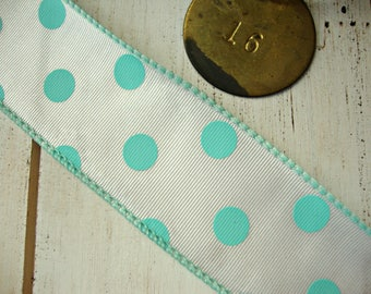 White Wired Grosgrain Ribbon with Pool Aqua Polka Dots