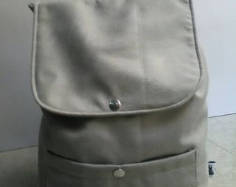 Backpack vegan leather, Alcantara, for her, made in Italy, handmade, with cotton lining, inside pocket for mobile