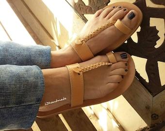 Greek sandals handmade, physical leather.