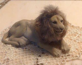 Vintage Flocked Lion Figurine, Hong Kong, Vintage Flocked Animals, Vintage Hong Kong, Vintage Flocked Toy Lion