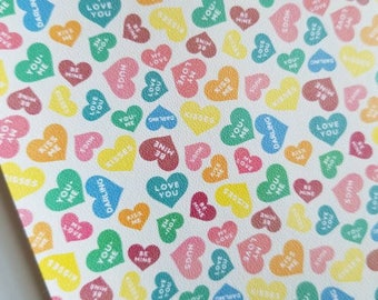 Valentine's Day- SWEETHEART CANDY Valentine material,faux leather sheet,8x11,leather sheets,valentines day fabric,valentines day leather
