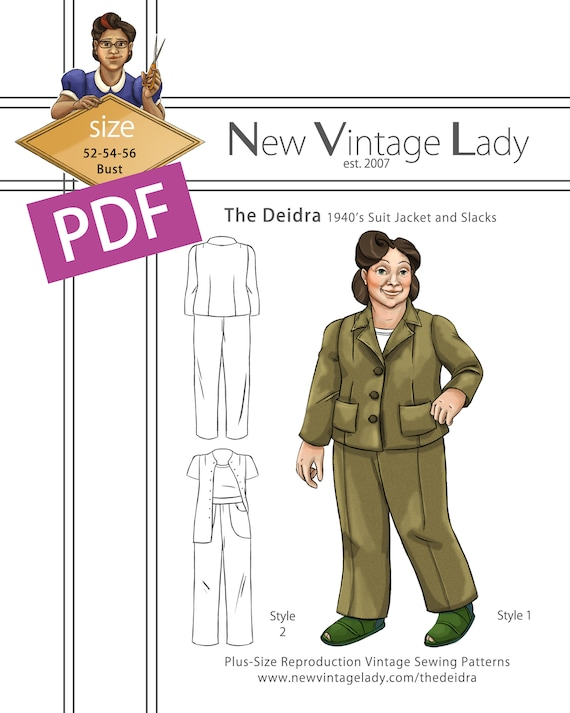 1940s Sewing Patterns – Dresses, Overalls, Lingerie etc The Deidra 1940s WWII slacks and jacket set in PDF size 52-54-56 bust NVL plus size multi size repro vintage sewing patternsThe Deidra 1940s WWII slacks and jacket set in PDF size 52-54-56 bust NVL plus size multi size repro vintage sewing patterns $20.00 AT vintagedancer.com
