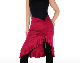 ASYMMETRIC FRILL SKIRT. Flamenco Pracitice Skirt. Various colours! Wiggle Skirt. Dancer gift. Salsa Skirt. Tango Skirt. Dancer costume
