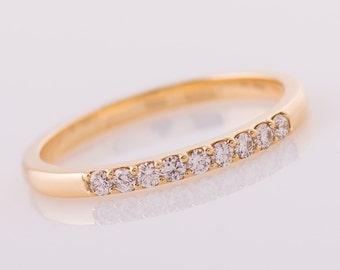 9 Diamond Ring, 14K Yellow Gold Diamonds band, 2 mm Diamonds Band, Anniversary Ring, Wedding Diamond Band, Pave Ring, Shared Prong Ring