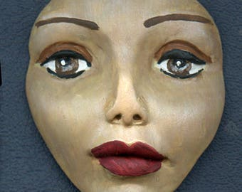 Tribal Face   Polymer Clay Large Tan, Brown, Pearl     Detailed   Un Drilled LAFT 1