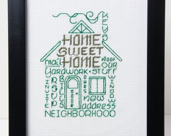 "New House ""Home Sweet Home""  Framed Word Art in Green  Counted Cross Stitch"