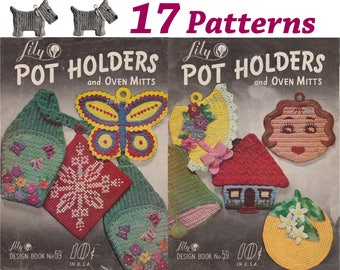 17 50s Pot Holder Patterns Scottie Dog 3 kittens cat Sugar and creamer owl crochet pattern potholder PDF PH107
