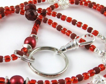 Ruby Red v 2.0 Czech Crystal and Pearl Lanyard ... Perfect for ID Badges Glasses Whatever You Desire Back to School