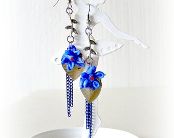 Flower Earrings blue glass hand-spun leaves Branches chains Silver Blue stainless steel