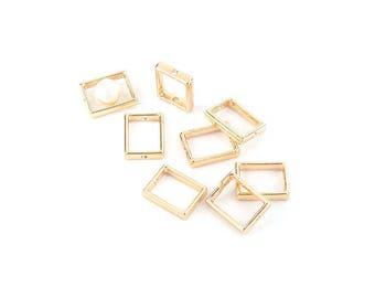 10 Pearl frames rectangles 15mm colour gold gilt