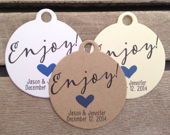 Wedding Gift Tags - Enjoy! - Wedding Favor Tags - Customizable Personalized (WT1442)