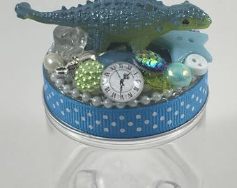 Assemblage Art Trinket Party Favor Jar  --  Ankylosaurus