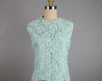 Vintage 1960s Lace Blouse 60s Aqua Blue Ribbon Lace Shell Top Size 8M