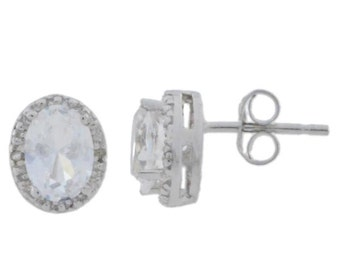 White Topaz & Diamond Oval Stud Earrings .925 Sterling Silver