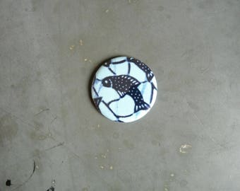 small round Pocket mirror fabric African (wax) blue fish