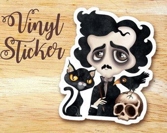 Edgar Poet Die-cut Vinyl Sticker Decal, Nevermore, The Raven