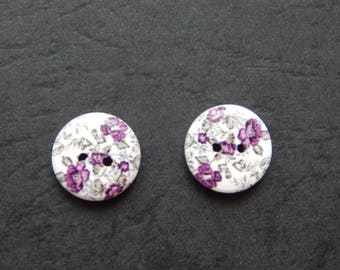 set of 2 buttons wood 15 mm decor flowers and leaves green/purple