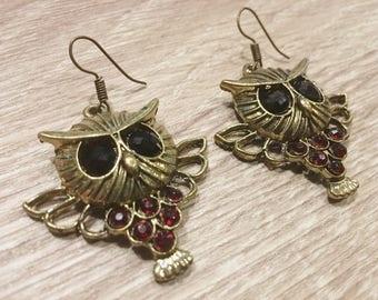 Brass Owl Earrings, Handmade Earrings, Vintage Earrings, Thai earrings, Women earrings, Kinnaree shop