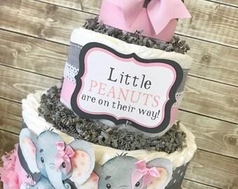 Little Peanut Diaper Cake for Girls, Elephant Baby Shower Centerpiece, Elephant Baby Shower Decorations for Twins