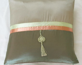 Mint green and khaki pillow  decorative throw pillow with mint green tassel 18 inch. 40 % discount. 5pcs in stock