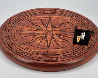 Nautical old world compass rose cribbage board with pegs