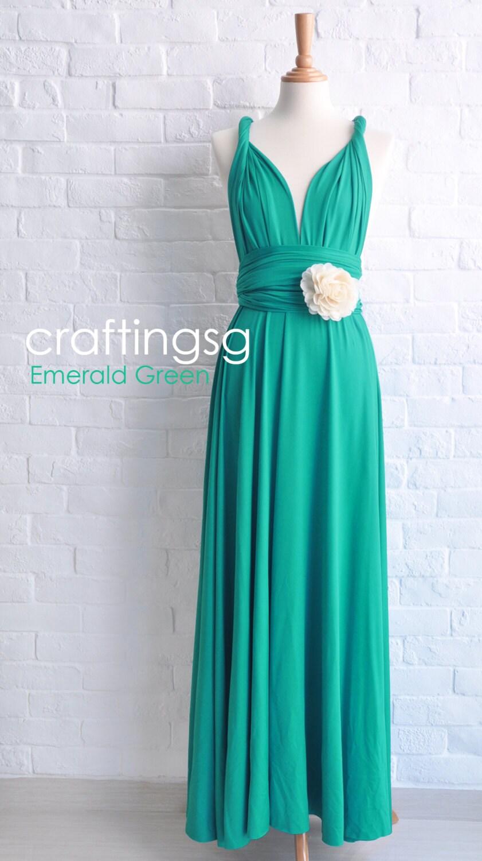 Bridesmaid Dress Emerald Green Maxi Floor Length Infinity