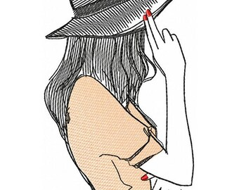 The girl in the hat - Machine Embroidery Design   5*7, 6*8