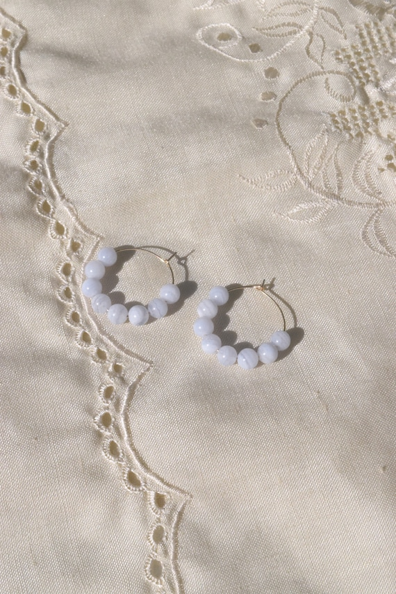 Mia 14K Gold Hoops with Blue Lace Agate