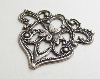 1 pc LuxeOrnaments Oxidized Sterling Silver Plated Focal Triangle Floral 40x35mm T239A-VJS S-8202