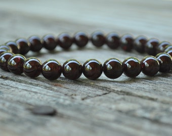 Mens Base Chakra Mala, Garnet, Root Chakra, First Chakra, Gemstone Therapy, Crystal Healing, Yoga Bracelet, Meditation Bracelet, Reiki, Wish