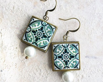 Tile Earrings Portugal Antique Azulejo ,  Ilhavo, SAGE Green with Pearls Framed 458