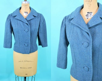 1950s short blazer | blue wool 2 button mid century jacket | vintage 50s blazer | W 32""