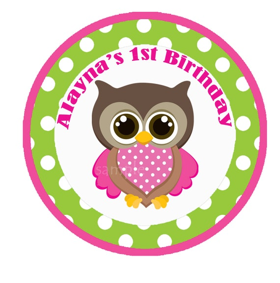 Owl Cupcakes For Baby Shower: Girl Owl Cupcake Toppers Small Party Circle Printable Owl
