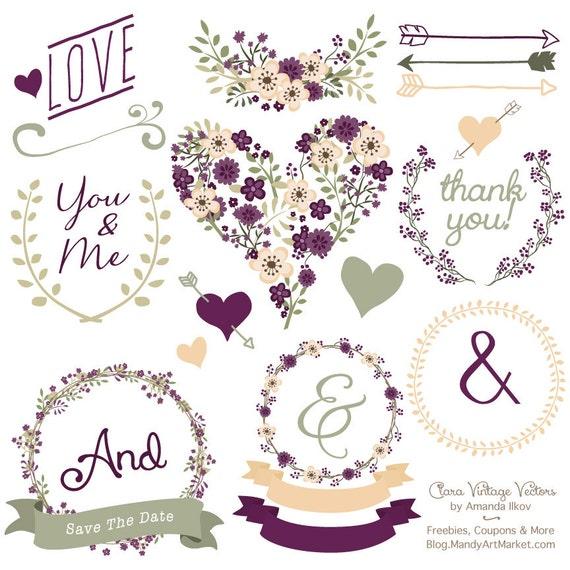 premium floral clip art vectors plum purple wedding clip rh etsy com Lilac Sprig Clip Art Lily Clip Art