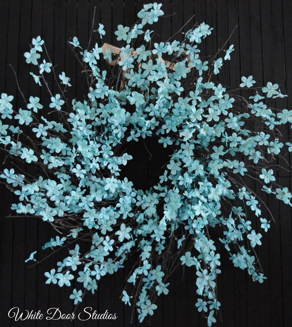 """Turquoise Blossom Spring and Summer Wreath - XL 28"""" Diameter"""