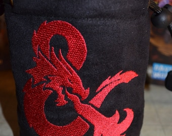 Dice Bag custom Embroidery Suede Dungeons and Dragons And logo