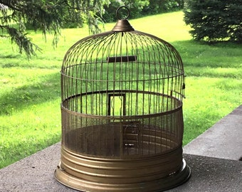 Antique Hendryx Brass Bird Cage Wire Farmhouse Plant Candle Holder