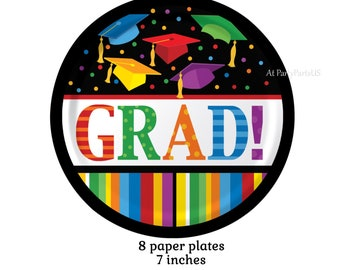 grad caps graduation plates, rainbow, multicolor, party decorations, dessert plates, unisex, nursing school, high school, class of 2018