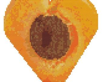 Modern Cross Stitch Kit 'Apricot Heart' Needlecraft kit