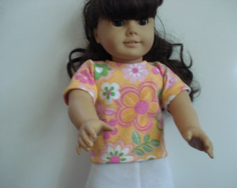 """18"""" Doll Clothes - peach color print Top and white skirt   flowers"""