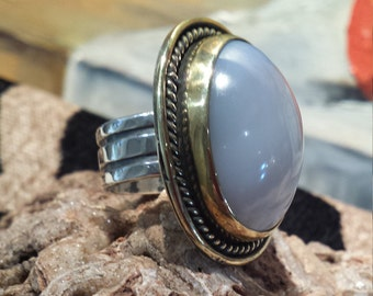 Sterling silver large grey lace agate ring