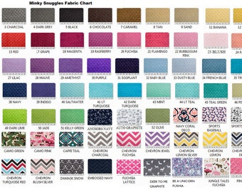 Minky Snuggles Fabric, Font Options and Thread Colors for Embroidery.  DO NOT PURCHASE.