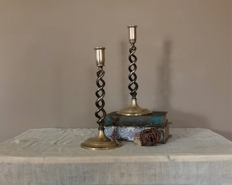 Antique Brass Candlesticks Pair/Open Barley Twist Brass Candle Sticks/Twisted Candlestick Holders/English Brass Candlesticks/Brass Candle Ho
