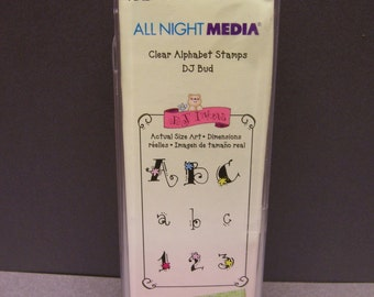 All Night Media Clear Alphabet Stamps DJ Bud-New Never Used