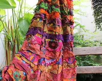 ARIEL ON EARTH - Patchwork Floral Printed Cotton Ruffle Tiered Skirt - SH1710-07