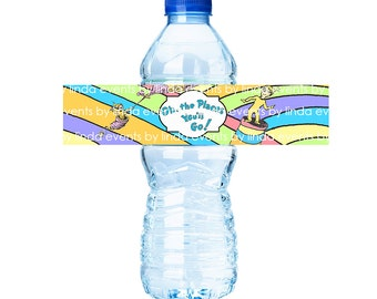 Oh the Places You'll Go - Water Bottle Label (printable) - Digital File