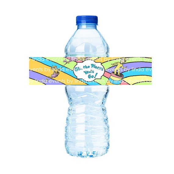 Oh the Places You'll Go - Water Bottle Label