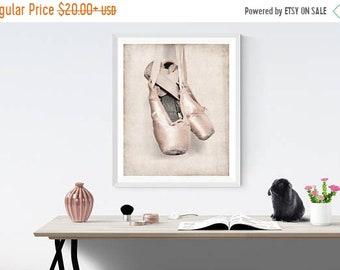 FLASH SALE til MIDNIGHT Vintage Ballet Slippers Photo Print, Girls Nursery decor, French Decor Ballerina girls room prints, Ballet Prints,